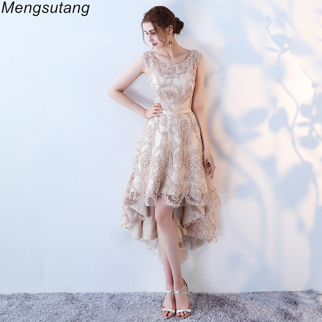 Robe de soiree O  Neck slim lace up Sleeveless evening dress  Short Front Long Back Party Dresses prom dresses Custom made