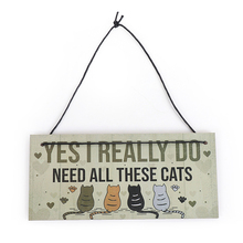 1PC Cats Hanging Plaques Bedroom Funny Gamer Gaming Plaques Christmas Birthday Gifts For Pet Lover Sign Home Wooden Decoration