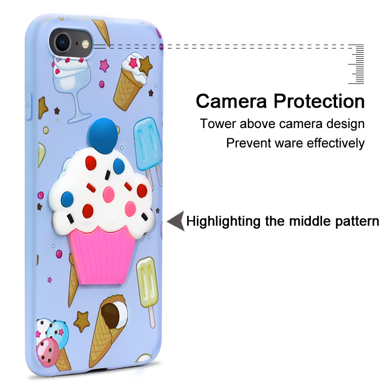 Imak Stereoscopic Colorful Embossed Pattern for Apple iPhone 8Plus 7Plus TPU Cute Soft Cover for IPhone 8Plus Fruit Pattern Case