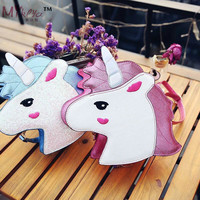 New Fashion Laser Sequins Unicorn Shape Shoulderbag Handbag Pink Blue Ladies Purse Crossbody Messenger Bag