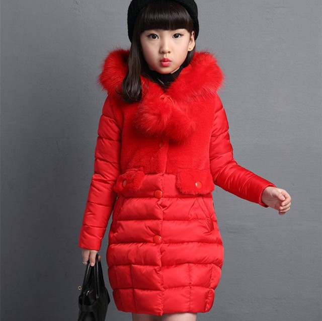 2c9693e7c59d Girls Winter Coat 2017 Children Fashion Padded Cotton Jacket Girl ...