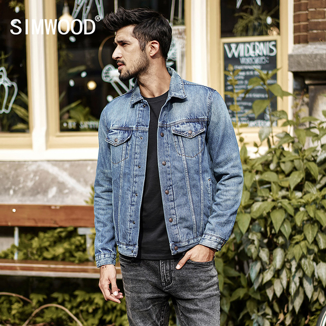 f013d22139 US $61.13 49% OFF|SIMWOOD 2018 New Spring Mens Denim Jackets Brand Clothing  Man's Slim Male Fashion Jeans Outerwear Plus Size Coats NK017008-in ...