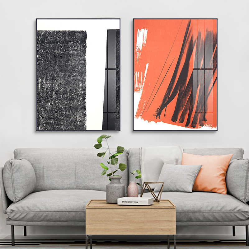 Abstract Black n White Orange Splash Canvas Painting Posters Print Unique Wall Art Pictures For Living Room Bedroom Aisle Studio