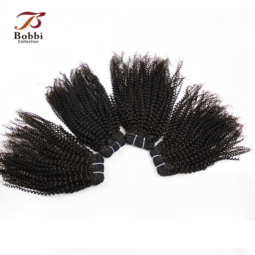 Bobbi Collection 3/4 Bundles Brazilian Hair Weave Bundles Natural Color Afro Kinky Curly Non-Remy Human Hair Extension
