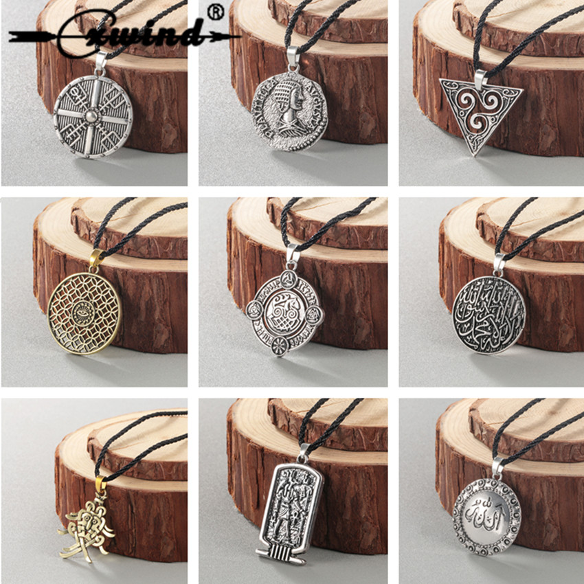 Chereda Ethnic Viking Runes Slavic Amulet Kolovrat Pendant Necklace