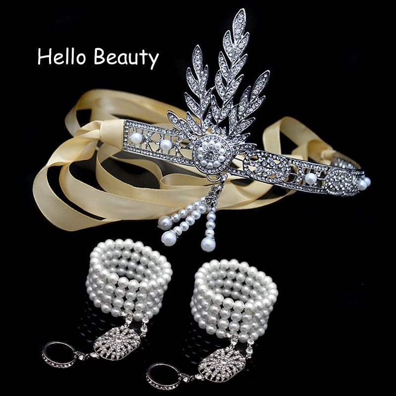 3 PCS 1920s Vintage Great Gatsby Headband Crystal Hair Accessory Pearl Tassels Band Wedding Hair Jewelry Bridal Tiara Headpiece
