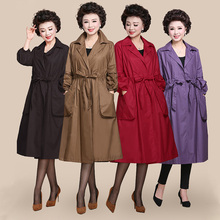 Middle-aged and old women Windbreaker Plus size trench coat for spring and autum