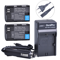 2pc LP E6 LP E6 LPE6 LP E6N Li On Battery Car Charger AC Cable For