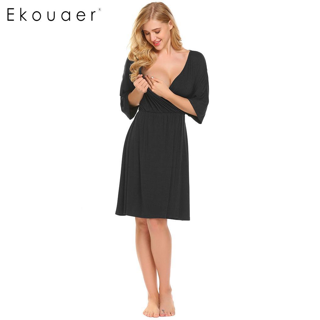 Ekouaer Waist Nursing Half Sleeve V-Neck Solid Elastic Women Nighties Sleepwear Dress