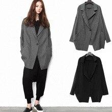 Estilo coreano mulheres Long-Sleeved Jaqueta Casaco Da Mulher Outono Casual Solto Jaqueta Ombro