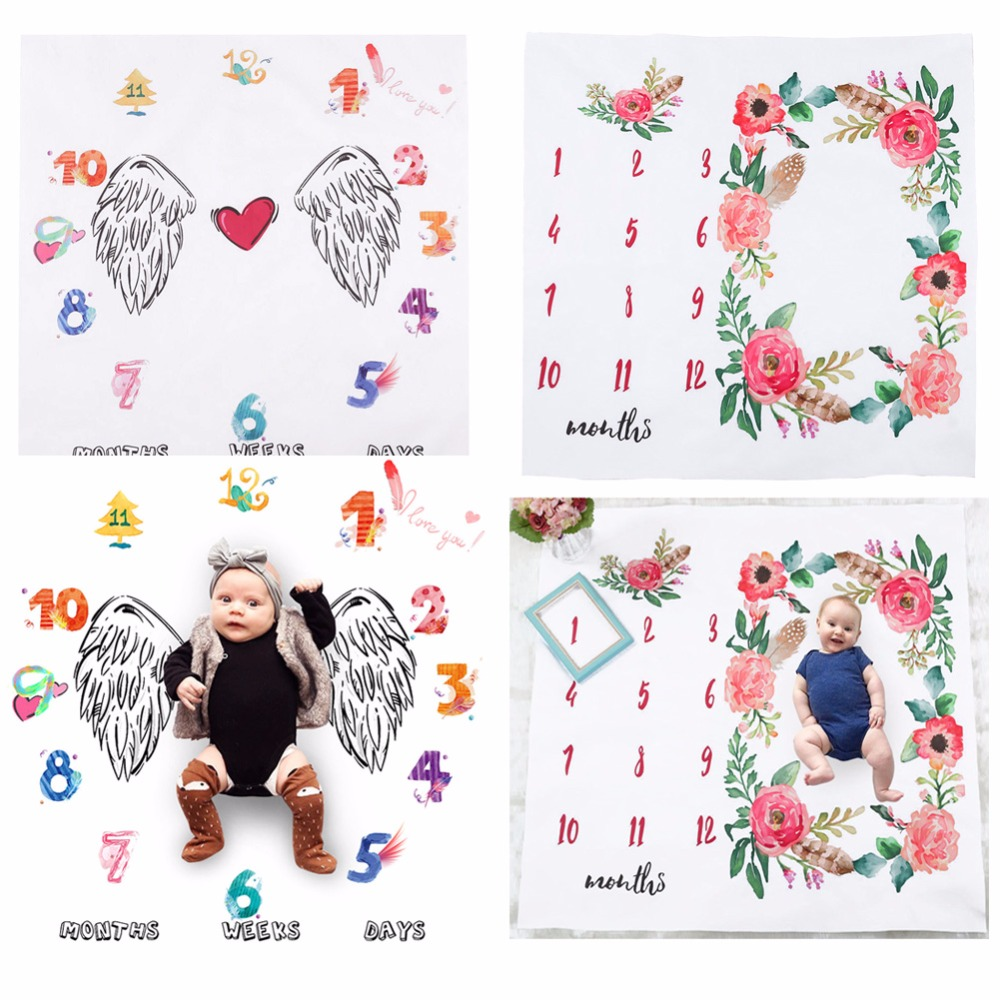 100*100cm Baby Blankets Swaddle Wrap Newborn Fashion Cute Wing Digital Flower Print Soft Bathing Towels Photography Props
