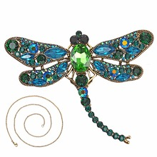 Vintage Crystal Dragonfly Necklace For Women Collar Pins Pendant Jewelry accessories enamel Long Chain
