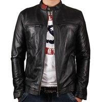 HARLEY DAMSON Black Men Slim Fit Genuine Biker's Leather Jacket Stand Collar Plus Size 3XL Short Sheepskin Riding Leather Coat