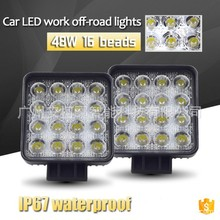 48W LED working lamp/off-road vehicle lamp/engineering lamp spotlight square  Headlamp Automotive Working Lamp