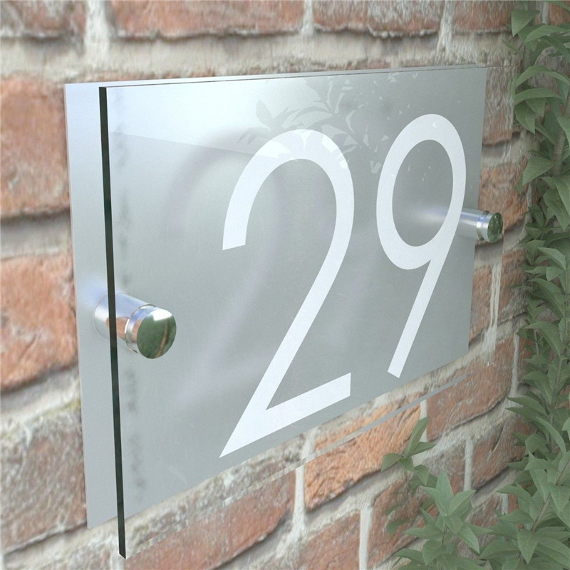 Home Decor DOOR Wall Sign NUMBER Modern HOUSE PLAQUES GLASS EFFECT ACRYLIC  PLAQUE Home, Furniture & DIY tohoku-morinagamilk.co.jp
