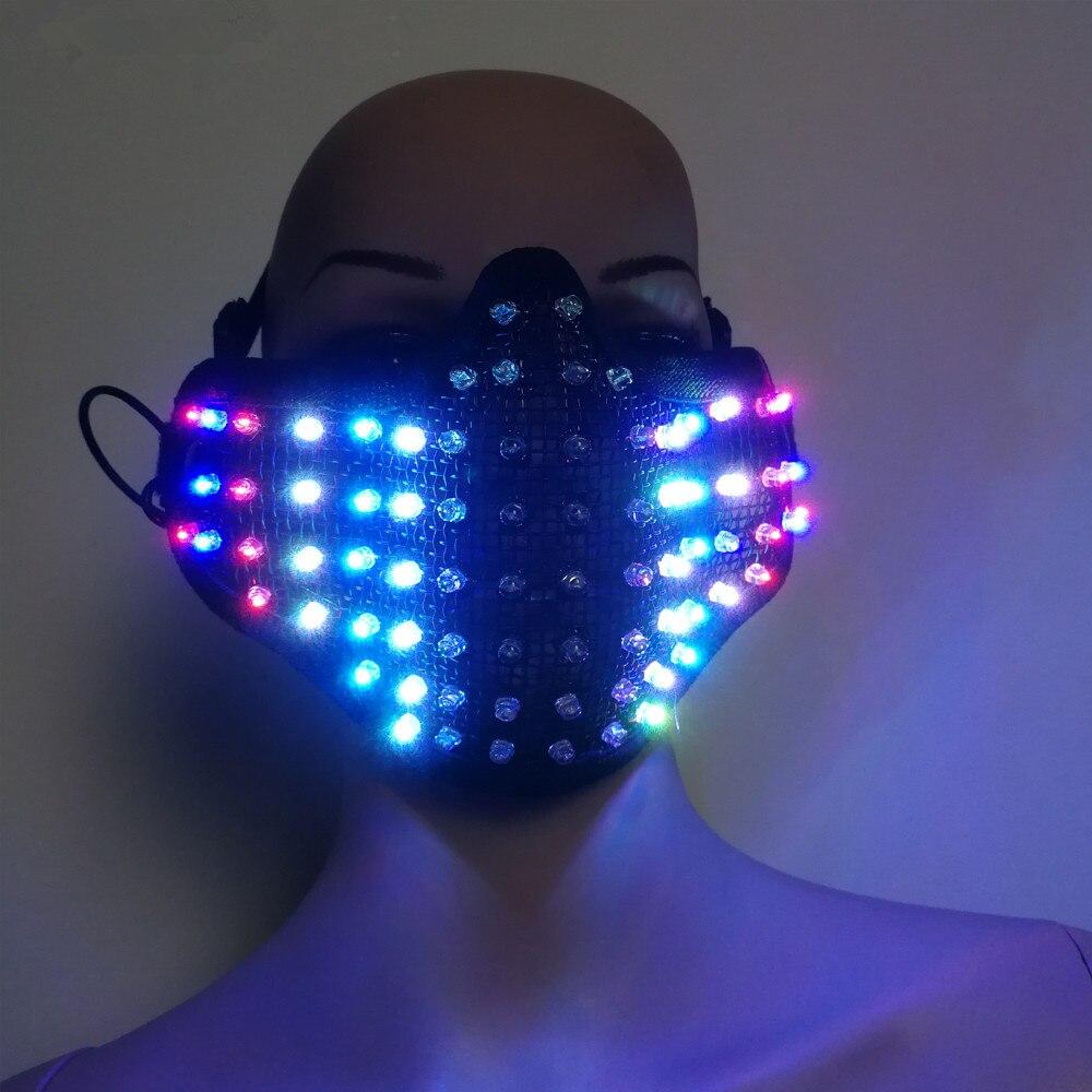 Free shipping Colorful LED Masks Hero Face Guard PVC Masquerade Party Halloween Birthday LED Masks