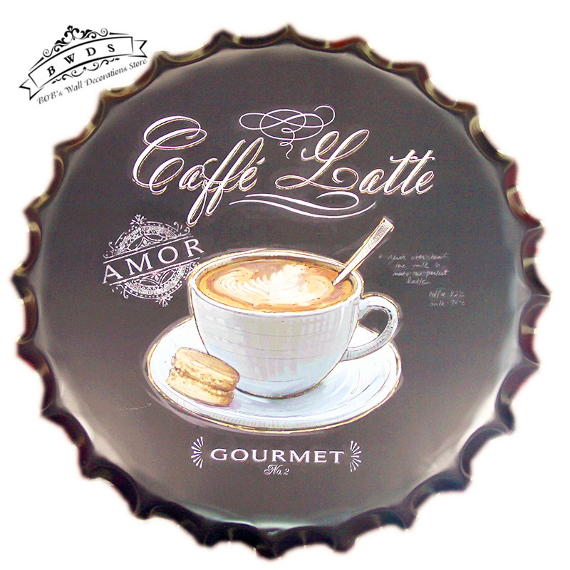 Round Metal Signs Quot Coffee Latte Quot Beer Cap Tin Signs Restaurant Wall Decor