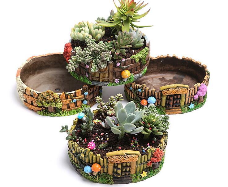 2019 Large Cement Succulent Plant Pots Hand Painted Potted Home Office Desktop Flower Pots Decoration Creative Flower Pots ZH007