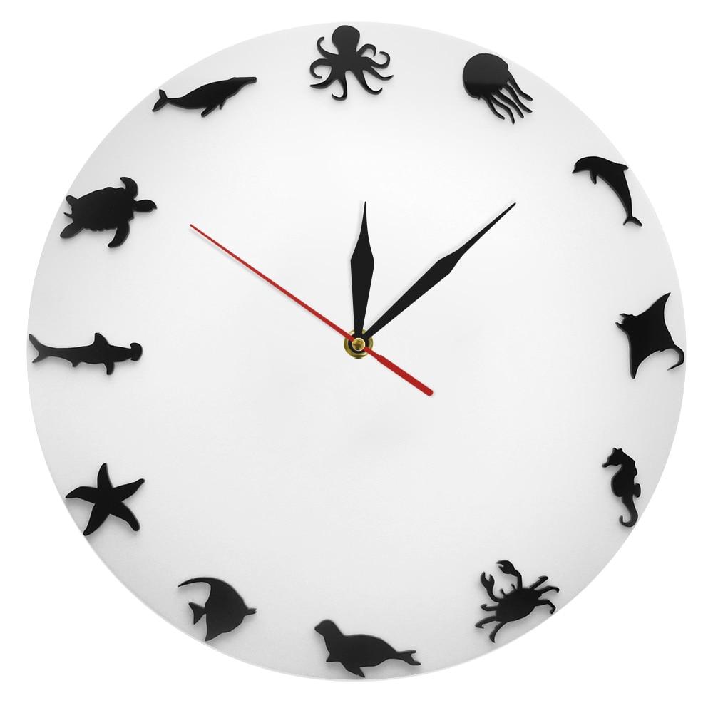 1Piece Ocean Marine Animals Wall Clock Sea Animals Silhouette Round Clock Iconic Sea Creatures Decorative Wall Clock