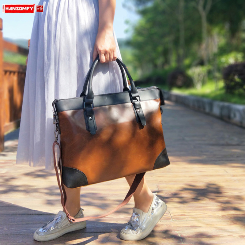 2019 New Business Women's Bag Handbag Female 15.6 Inch Laptop Briefcase Ladies Retro Crazy Horse Leather Shoulder Messenger Bags