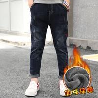 Toddler Warm Jeans For Boy 4 5 6 7 8 9 10 11 12 13 Year 2018 Kids Skinny Jeans Plus Velvet Denim Pant Chidlren Clothing Trousers