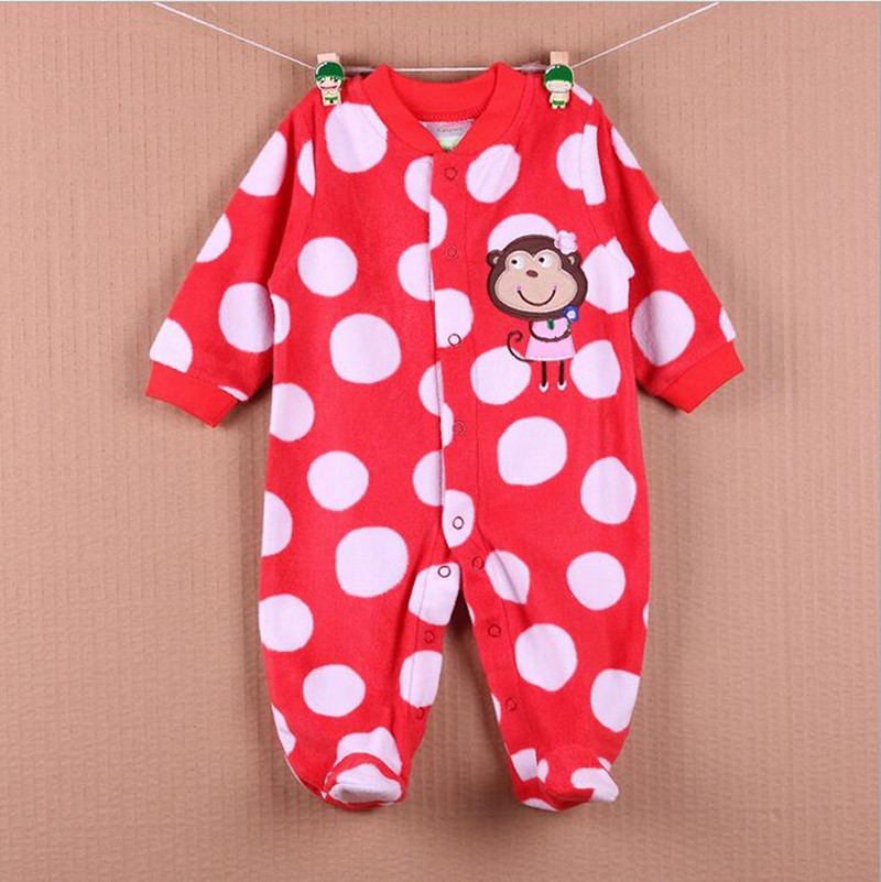 New Arrival Baby Footies Boys&Girls Jumpsuits Spring Autumn Clothes Warm Cotton Baby Footies Fleece Baby Clothing Free Shipping (1)