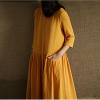 Plus size S 5XL 6XL Three Quarter Sleeve dress,2018 Spring Autunm women cotton linen dress,vestidos femininos Summer dress