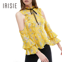 IRISIE Apparel Off Shoulder Women Tops Sexy Wrap Office Lady Slim Ruffle Shirts Vintage Floral Print Casual Frill Chiffon Blouse