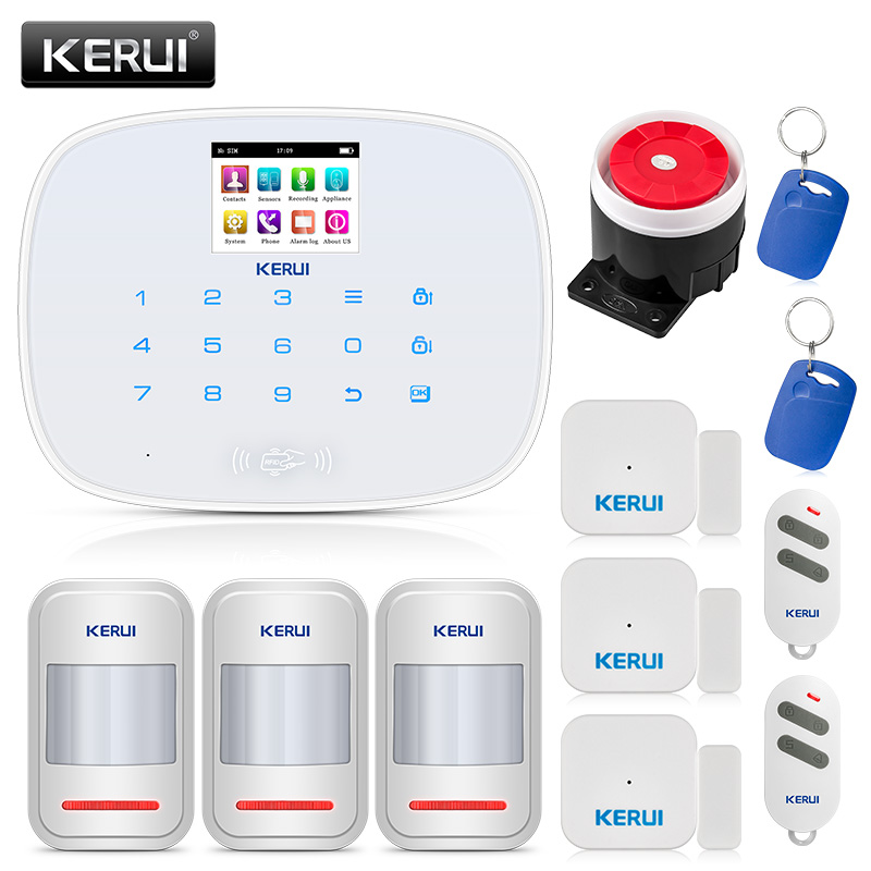 KERUI  433MHZ Wireless Home Security Alarm System with RFID Tags Intelligent Switch Control 850/900/1800/1900 MHZ GSM/PSTNKERUI  433MHZ Wireless Home Security Alarm System with RFID Tags Intelligent Switch Control 850/900/1800/1900 MHZ GSM/PSTN