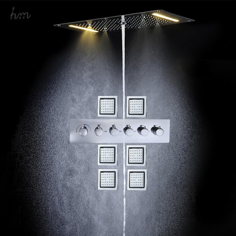 Waterfall Rain Shower System Six Body Jets Multifunction shower Sets ...