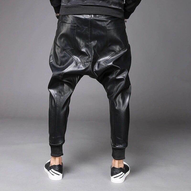 M 6XL nouvelle mode hommes Punk Moto PU Faux cuir décontracté Harem goutte entrejambe pantalon jean rue danse DJ Rock pantalons pantalon M 2XL - 6