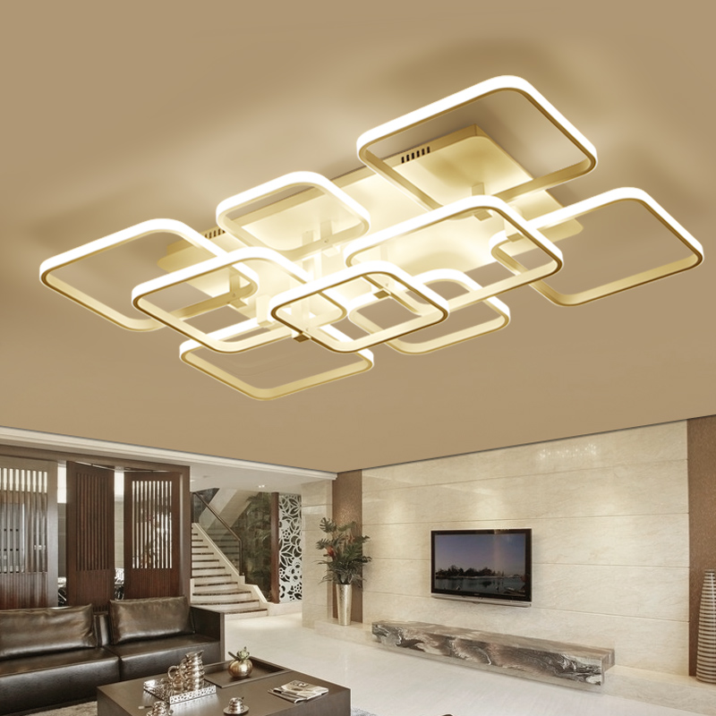 Rectangle Living Room Bedroom Modern Led Ceiling Lights White Color Square Rings AC85-265V Study Room Ceiling Lamp Fixtures square white black modern led high quality ceiling lights for living study bedroom kids room ultra thin hot ceiling lamp fixture