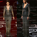Vintage Sheath Illusion Long Sleeves V-neck Sequins Oscars Halle Berry Academy Awards Evening Vestidos Celebrity Dresses 2015