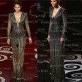 Vintage vaina ilusión de manga larga con cuello en v lentejuelas oscar Halle Berry premios de la academia de noche Vestidos de la celebridad Vestidos 2015