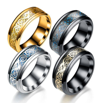 Blue Black Silvering Irish Dragon Titanium Carbide Ring Wedding Bands 1