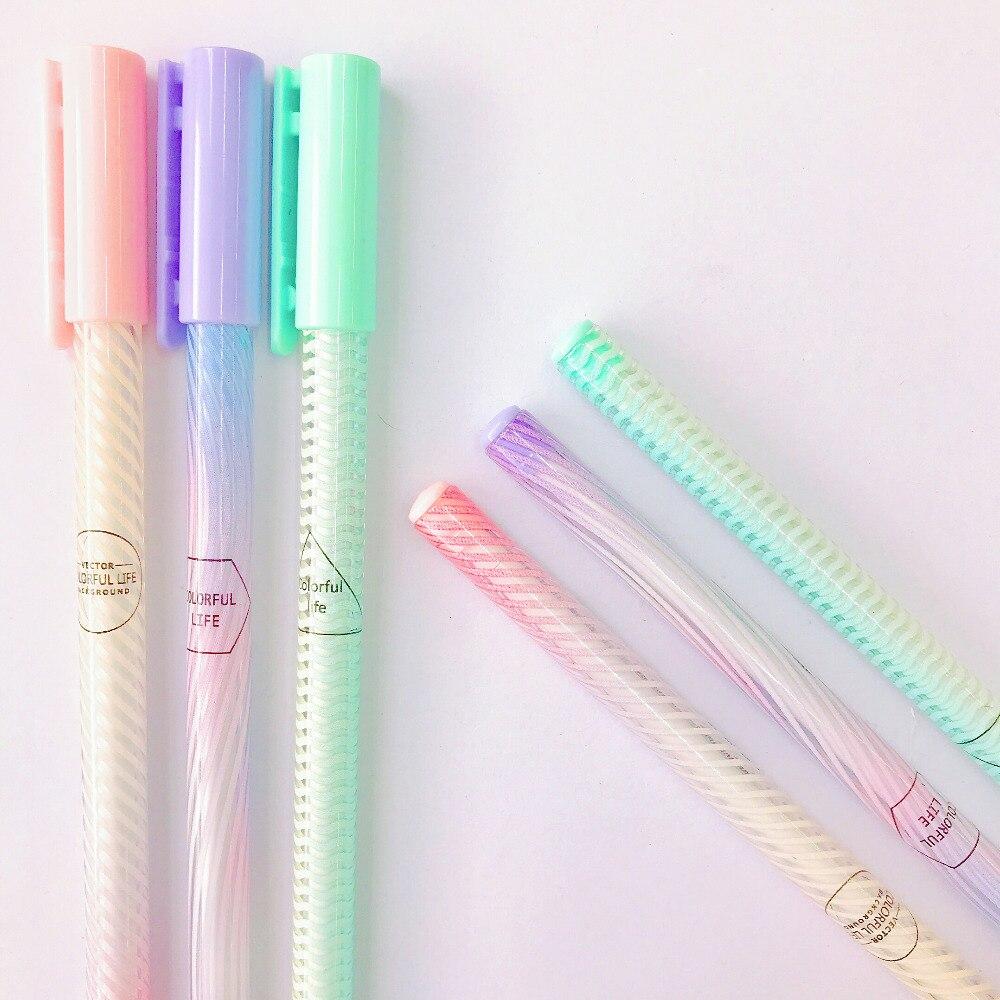 3X Kawaii  Life Gradient Gel Pen School Office Supply Student Stationery Black Ink 0.5mm Kids Gift