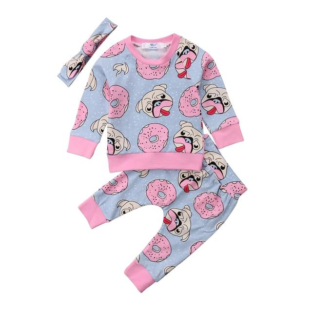 b06a7c1a72b6 3pcs Baby Clothing Sweet Newborn Baby Girl Outfit Clothes Pugs Donuts Lemon  Tops Leggings Pant Headband Set