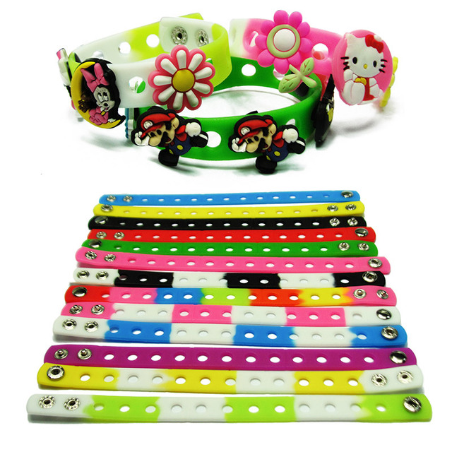 9bab4e7a7 1PCS 17 Colors Silicone Bracelet Wristband 18cm Fit Shoe croc Buckle shoe  charms shoe accessories kid party gift fashion jewelry