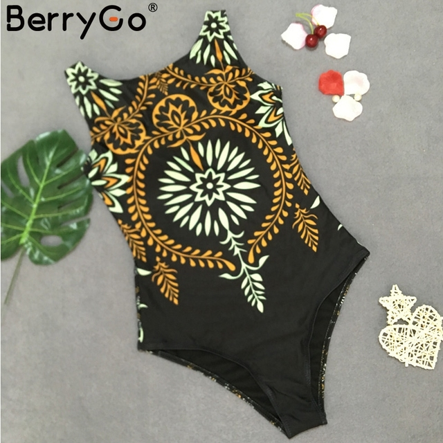 BerryGo Retro print one-piece women swimsuit Sexy stretch female swimwear 2019 Bathing suit summer swimwear black bikini overall 3