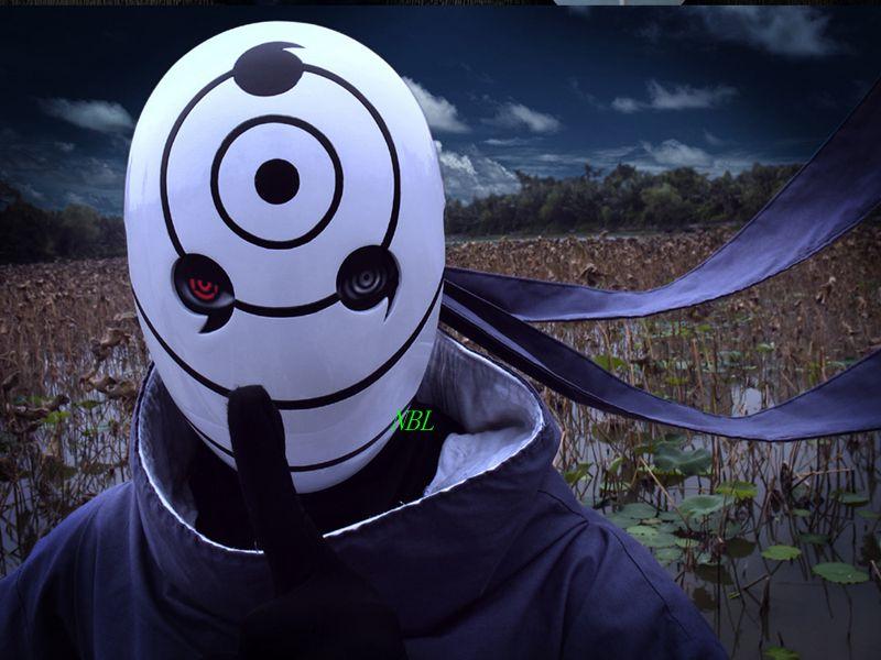 White Resin Naruto Obito Mask Tobi Madara Anime Masks Halloween Masquerade 3Eyes Tobi Madara Uchiha Resin Masks House Party Prop