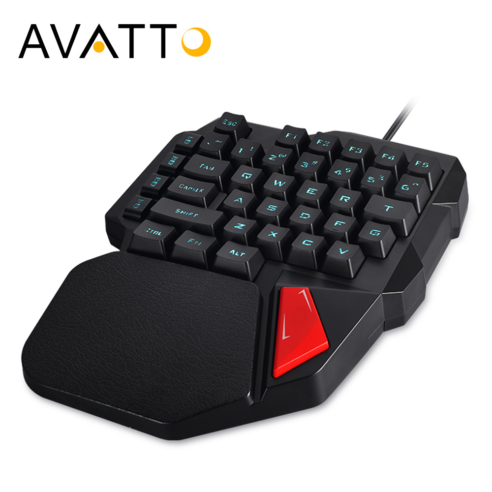 AVATTO Professional Single Hand Wired Gaming keyboard with 3 Color Backlit Touchpad 38-keys Ergonomic Keypad for LOL Dota PUBG