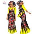 BRW Africano Dashiki Top y Falda Conjunto Ropa Africana para las mujeres de Algodón Con Pliegues Falda de Dos Piezas Set Envío Head Scarf WY1437
