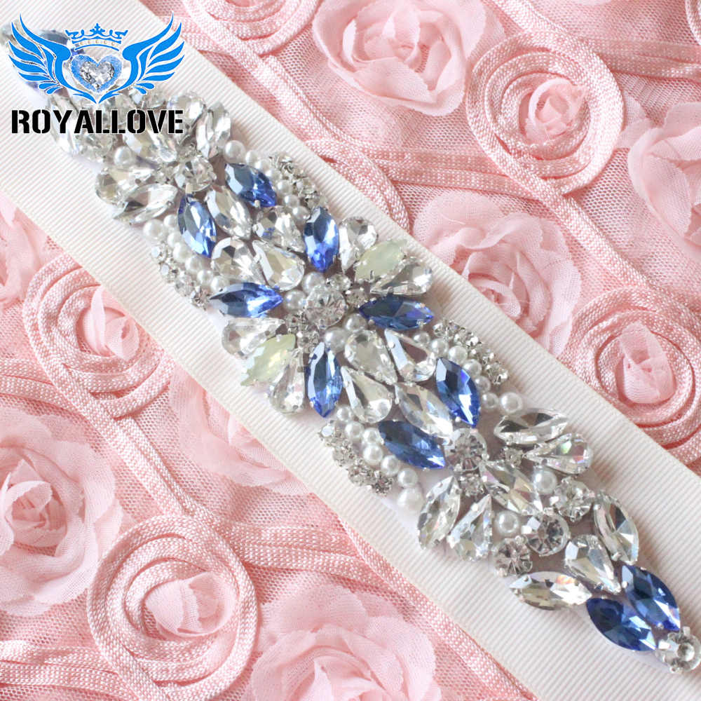 8ea06c155f Detail Feedback Questions about 1 Piece Rhinestone Iron on Blue ...