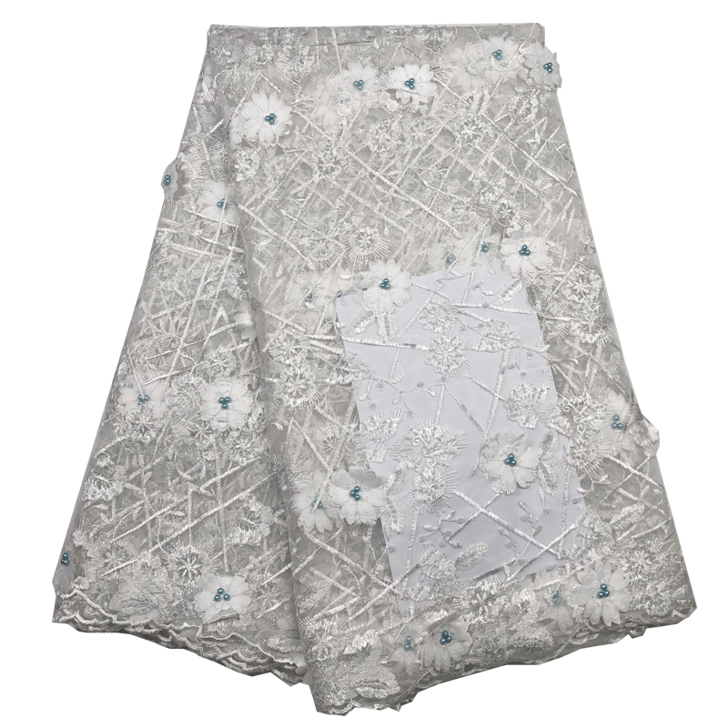 White beaded appliqued lace fabric high quality Latest african lace 2019 noble Handmade 3D lace fabric for Nigerian party A19B3