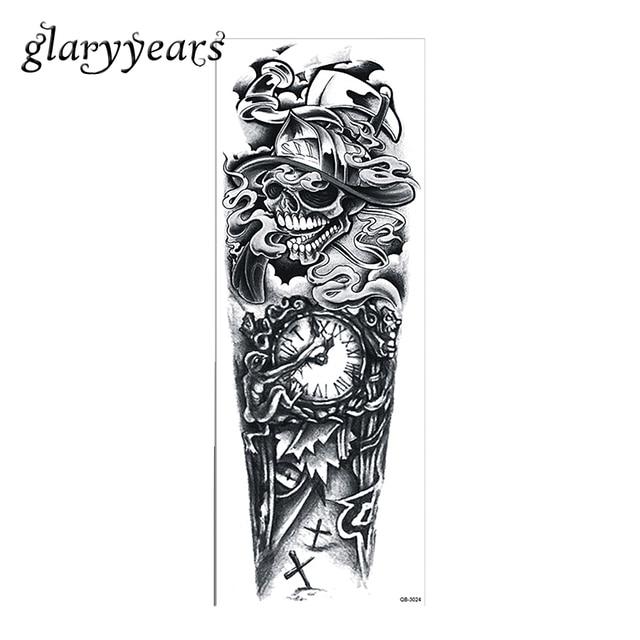 1 piece temporary tattoo sticker skull clock pattern water transfer design full flower arm body art