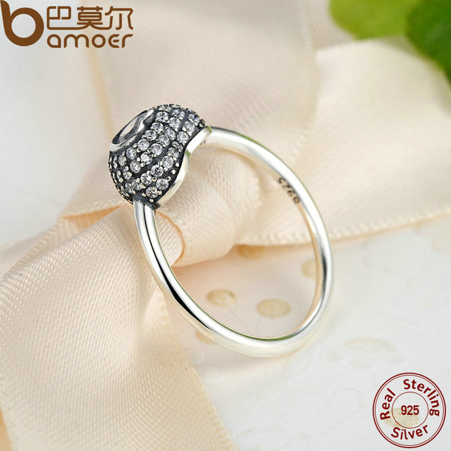 Sterling Silver In My Heart Pave Ring