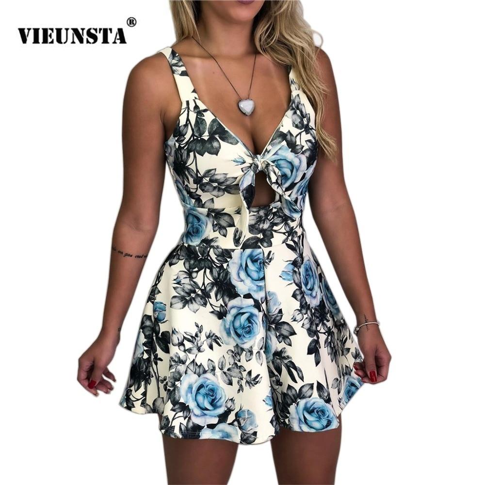 VIEUNSTA 2XL Boho Floral Print Summer Romper Sexy Chest Wrap Bow Backless   Jumpsuit   Women Wide Leg Mini Playsuit Beach Overalls