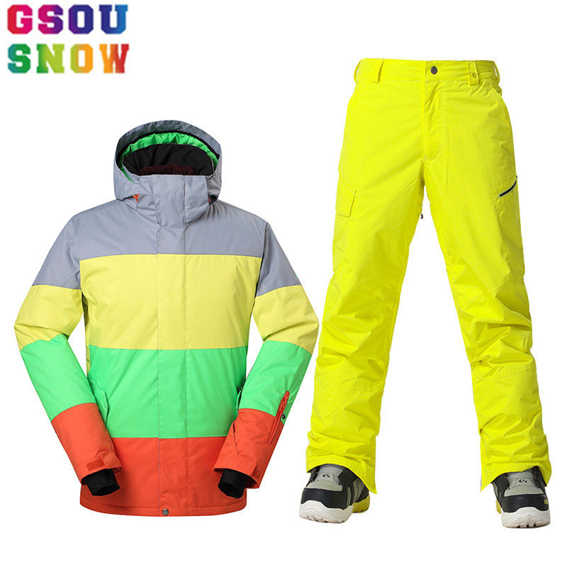 GSOU SNOW Brand Winter Ski Suit Men Ski Jacket Pants Waterproof Snowboard Sets Outdoor Skiing Snowboarding Snow Suit Sport Coat gsou snow ski jacket women snowboard jacket waterproof ski suit winter skiing snowboarding outdoor sports jacket gs419 001
