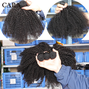 Image 5 - Mongolian Afro Kinky Curly Hair Human Hair Bundles 4B 4C Hair Weave Remy Natural Human Hair Extension CARA Products 1&3 Bundles