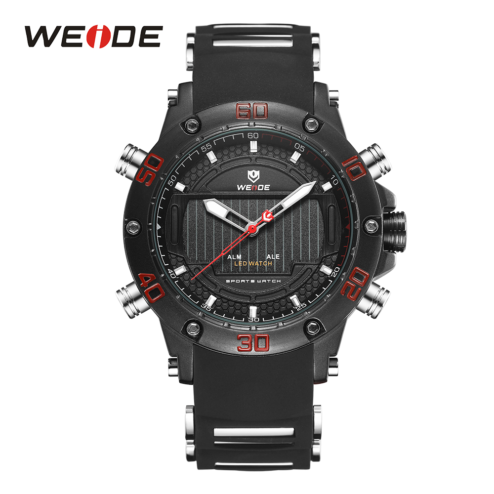 WEIDE Sport Watches For Men LED Display Quartz Black Silicone Strap Clock Military Wristwatch Waterproof Relogio Masculino brand weide fashion casual men watch black silicone strap 3atm waterproof dual display wristwatch relogio masculino sale items